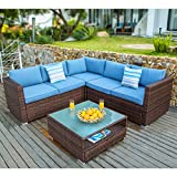 COSIEST 4-Piece Outdoor Furniture Set All-Weather Brown Wicker Sectional Sofa w Glass Coffee Table, Heritage Blue Cushions,2 Stripe Woven Pillows Incl. Waterproof Cover for Garden