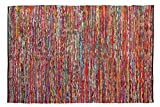 Cotton Multi Chindi Hand Woven Rugs 36X60 Inch Multi Color-Cotton Chindi Rag Rug - 3x5 Feet Rectangle Hand Braided Bohemian Colorful Area Rug - Recycled Braided Chindi Rugs- Biodegradable