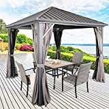 Ulax Furniture Outdoor Hardtop Gazebo Patio Aluminum Permanent Pergola with Galvanized Steel Roof, Mosquito Net and Privacy Curtain (10' x 10')