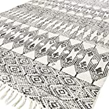 Eyes of India - 8 X 10 ft Black White Cotton Block Print Area Dhurrie Rug Flat Weave Woven Tassel Boho Chic Indian Bohemian Accent Handmade Handwoven
