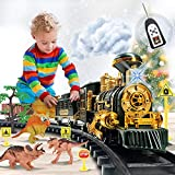 Train Set Toy with Remote - Upgraded Large Size Electric Train Toy Set with Dinosaurs, Battery-Powered Steam Locomotive Engine, Cargo Cars & Tracks, Gift Toys for Age 3 4 5 6 7 8+ Kids, Assorted