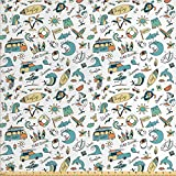Ambesonne Surfboard Fabric by The Yard, Cartoon Surf Associated Wording and Colorful Repeated Aloha Summery Designs, Decorative Fabric for Upholstery and Home Accents, 1 Yard, White Teal