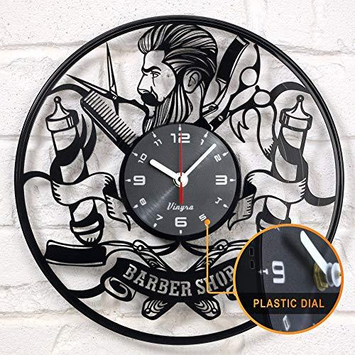 Barbershop Clock Wall Vinyl Clock Hairdresser Barber Clock...