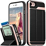 Vena iPhone 8 Wallet Case, iPhone 7 Wallet Case, (vCommute) Military Grade Drop Protection Flip Leather Cover Card Slot Holder with Kickstand for Apple iPhone 8 and iPhone 7 (Rose Gold-Black)