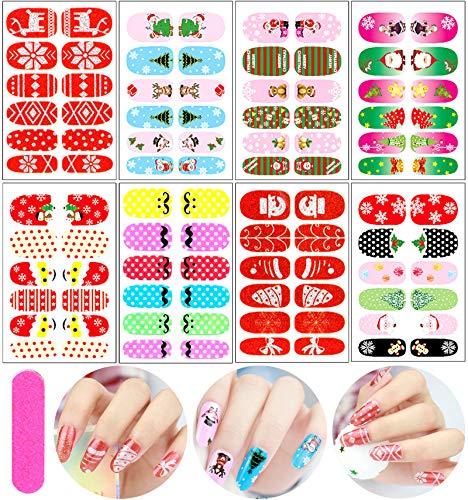 Christmas Nail Polish Stickers Full Wrap Nail Polish Strips Self-Adhesive Nail Art Decals Xmas Colors Nails Polish Strips Nail Wraps for Women Girls Christmas Design Manicure Nail Strips(8 Sheets)