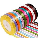Anpro 12PCS Ruban Satin Mixte Coloris 10mm x 22m Environ Décoration pour DIY,...