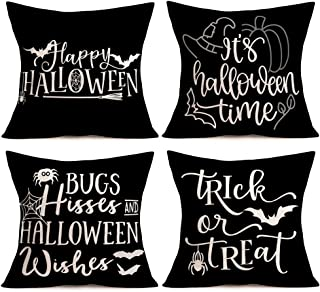 Aremetop Throw Pillow Covers Black and White Happy Halloween Quote Saying Cotton Linen Pumpkin Bat Spider Web Witch Decorative Cushion Cover Pillow Case for Sofa Trick or Treat 18''x18'' Set of 4