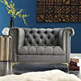 Iconic Home Winston Modern Tufted Nail Head Trim PU Leather Club Chair with Gold Tone Metal Y-Legs, Grey