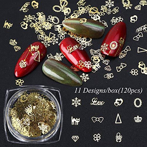100pcs/box Gold Nail Flakes 3D Decoration Nail Mix Necklace Cat Bow Heart Crown Design Sequins Christmas Manicure Accessories Nail Decoration