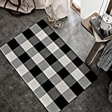 SEEKSEE 100% Cotton Buffalo Plaid Rug 24 x 36 Inches Black and White Rug Buffalo Plaid Doormat Washable Hand-Woven Indoor or Outdoor Rugs for Layered Front Door Mats, Porch, Farmhouse, Entryway