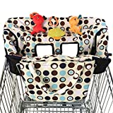 2-in-1 Shopping Cart Cover and High Chair Covers for Baby Boy or Girl - Toy Loops for Babies - Cover Folded into its Pouch - Easy to Carry - Machine Washable (M, Walmart) (Baby Product)