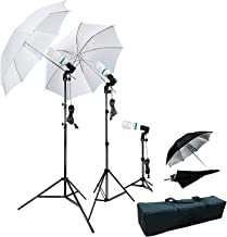 LimoStudio 800 W Photographie Photo Portrait Studio Parapluie Triple Kit d'éclairage continu – 2 x Blanc Parapluie Lighitn...