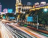 Paquete De Pintura Por NúMero En Lienzo Pintura Al óLeo DIY Luces De La Ciudad Movimiento De Luz De Fondo Brillante Cuadros Pintados A Mano Del Arte Del Colorante De AcríLico Para La Sala De Estar