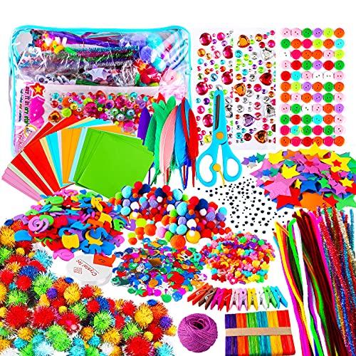 Yojoloin Kits de Loisirs Créatifs Bricolage Enfant 5 6 7 8 Ans,1800+pcs Activites Manuelles avec Paillettes,Pompons, Plume,Papier,Googly Eye,Pipe Cleaners,Autocollant,Papier