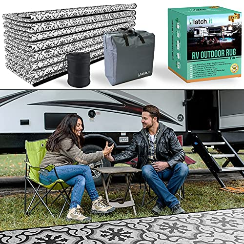 LATCH.IT RV Outdoor Rugs 9x12 | Reversible RV Outdoor Mat Camper...