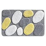 iDesign Pebblz Microfiber Polyester Bath Mat, Non-Slip Shower Accent Rug for Master, Guest, and Kids' Bathroom, Entryway, 34' x 21', Yellow and Gray