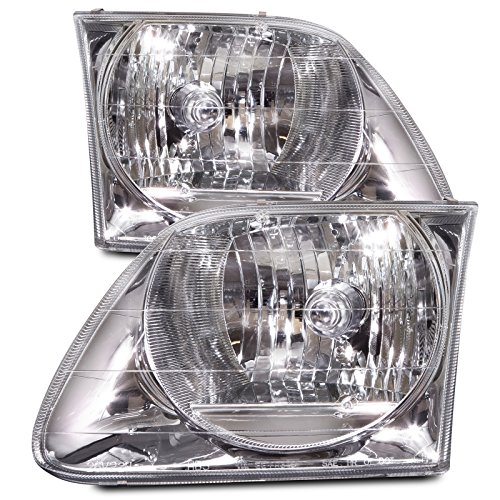 HEADLIGHTSDEPOT Chrome Housing Halogen Lightning Style Headlights Compatible with Ford Expedition F-150 Includes Left Driver and Right Passenger Side Headlamps