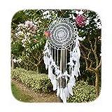 EasyBravo - Atrapasueños grande Boho con plumas blancas Macramé colgante de pared para decoración...