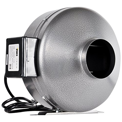 iPower 6 Inch 442 CFM Inline Duct Ventilation Fan HVAC Exhaust Blower for Grow Tent, Grounded Power Cord