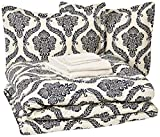 AmazonBasics 8-Piece Comforter Bedding Set, King, Blue and Tan Damask, Microfiber, Ultra-Soft
