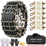 AutoChoice 6 Packs Car Snow Chains Emergency Anti Slip Tire Chains with Thickened Manganese Steel for Truck SUV in Snow, Ice, Sand and Mud (165-225mm)