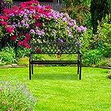 Relaxdays Gartenbank, bequemer 2-Sitzer, geflochtenes Design, für Terrasse & Balkon, HBT 86,5 x 127,5 x 58,5 cm, schwarz - 3