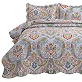 Bedsure 3-Piece Bohemia Paisley Pattern King Size Bedspread(106x96 inches), Lightweight Coverlet Quilt for Spring and Summer,1 Quilt and 2 Pillow Shams