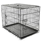 TRESKO Gabbie Pieghevole per Cani e Gatti   Trasportino con 2 Porte in Metallo   Box per Animali   Cuccia Pieghevole con Vassoio Rimovibil (L - 91 x 58 x 64 cm)