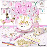 Rovercci Unicorn Party Supplies Set & Tableware Kit, Birthday Decorations Bunting, Disposable Paper Plates, Cups, Napkins, Straws, Plastic Table Cloth, & Balloons, Bracelet, Head band - Serves 16 (Toy)