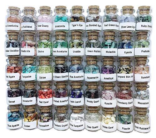A Set of 45 Different Crystal Gemstones in Glass Bottles,...