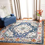 Safavieh Monaco Collection MNC243N Boho Chic Medallion Distressed Area Rug, 3' Square, Navy/Light Blue