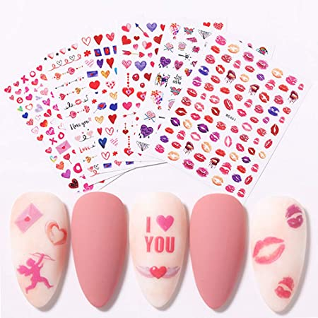 Amazon Com Valentines Nail Art Stickers 6 Sheets Red Color Valentine S Day Nail Decals Love Heart Angel Lip Design Nail Stickers Manicure Tips Accessories For Women Girls Nail Art Decorations Valentines Gift Beauty