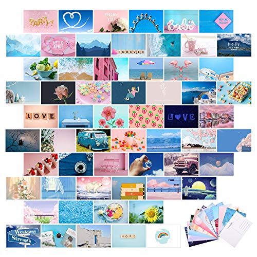 60 Pieces Blue Aesthetic Wall Collage Kit Photo Collage with Back...