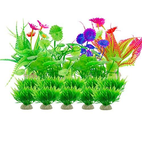 Aisamco Aquarium Künstliche Pflanzen, 16 Stücke Aquarium Pflanzen Aquarium Dekorationen, Aquarium Künstliche Kunststoffpflanzen Aquarium Dekoration