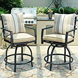 LOKATSE HOME Patio Height Chair Set of 2 Outdoor Swivel Bar Stools with Seat and Back, 2, White Cushions