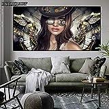 PLjVU Pintura de la Lona Mural ángel de Vapor con Gafas Cartel Chica Mural decoración de la Sala Pintura-Sin marco60x120