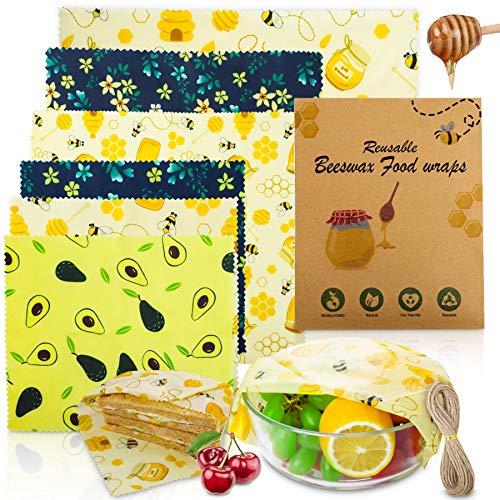 Popolic Involucri di Cera d'api 6PCS, Lavabile Riutilizzabile Alimentare in Cera d'api Stoccaggio Alimenti Variety Pack Formaggi,Frutta,Sandwich, Verdure con la Corda