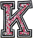 3' Tall (A-Z) Pink Crystal English Letter Character Tag Name Alphabet Rhinestone Shiny Patch Iron on Embroidered Craft Handmade Baby Kid Girl Women Sexy Lady DIY Accessories Costume (K)