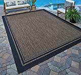 Gertmenian 21490 Coastal Tropical Carpet Outdoor Patio Rug, 5x7 Standard, Nut Brown Black Border