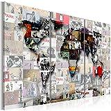 murando Tableau Acoustique Banksy Carte du Monde 135x90 cm Impression sur Toile Image Photo Toile intisse 3 Pieces Tableaux murals Absorption Acoustique Tableau Decoration Murale k-C-0057-b-f