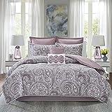 Comfort Spaces Cozy Comforter Set-Modern Classic Design All Season Down Alternative Bedding, Matching Shams, Bedskirt, Decorative Pillows, Queen(90'x90'), Kashmir, Paisley Purple 8 Piece