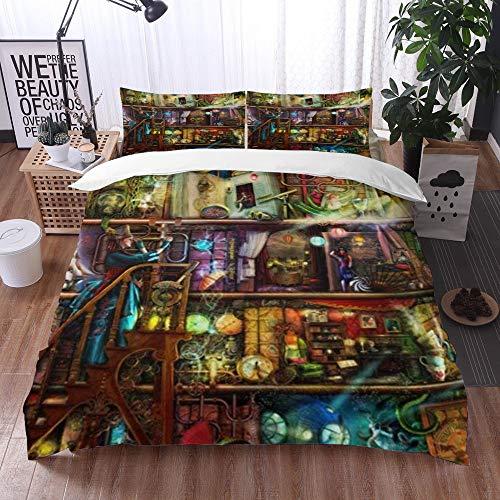 Mingdao bedding - Duvet Cover Set, The Fantastic Voyage - A Steampunk Book Shelf,Microfibre Duvet Cover Set 135 x 200 cmwith 2 Pillowcase 50 X 80cm