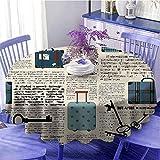 Viejo periódico decoración mantel redondo camping estilo retro viaje vacaciones tema vintage maletas llaves texto punto secado rápido diámetro 43 pulgadas crema azul negro