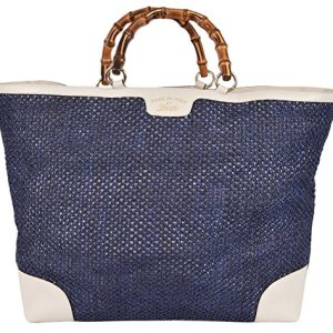 Gucci Women's Large Blue Straw Leather Bamboo Handle Handbag Tote 35
