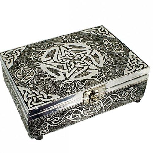 Find Something Different Encontrar Algo Diferente Caja de Puntas de Tarot de Acabado de Plata Repujado Celta de Madera, Multicolor