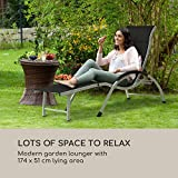 Liegestuhl Sonnenliege Gartenliege verstellbare Lehne in 4 Stufen klappbares Fußteil - 3
