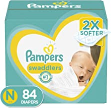 Diapers Newborn/Size 0 (< 10 lb), 84 Count – Pampers Swaddlers Disposable Baby..
