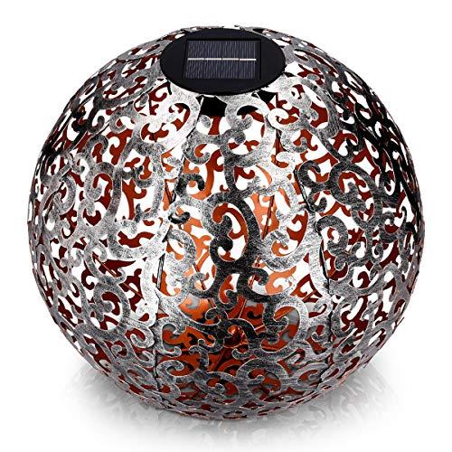 Navaris LED Solar Kugel aus Metall - 40 x 40cm - mit Erdspieß - Garten Solarkugel Leuchte - Orientalische Solar Kugelleuchte - Gebürstetes Silber