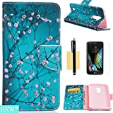 HKW LG K10 Case,LG Premier LTE Case, (TM) Plum Blossom Premium PU Leather Magnetic Flip Closure Protective Wallet Case Cover with Kickstand & Screen Protector for LG K10,LG Premier LTE (MA1390)