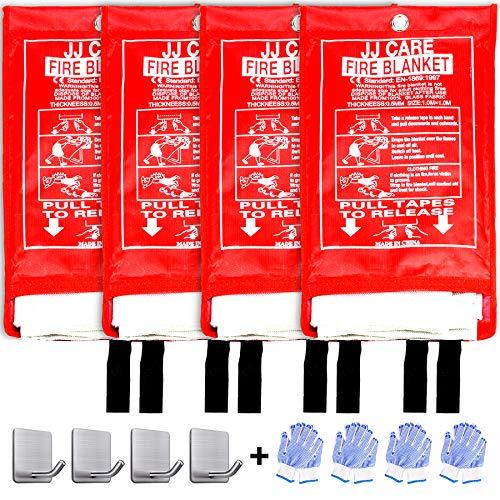 JJ CARE Fire Blanket for Home 40'x40' + 4 Hooks & 4 Gloves, Fire...